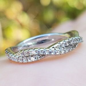 Simple White Gold Twisted Diamond Band Ring